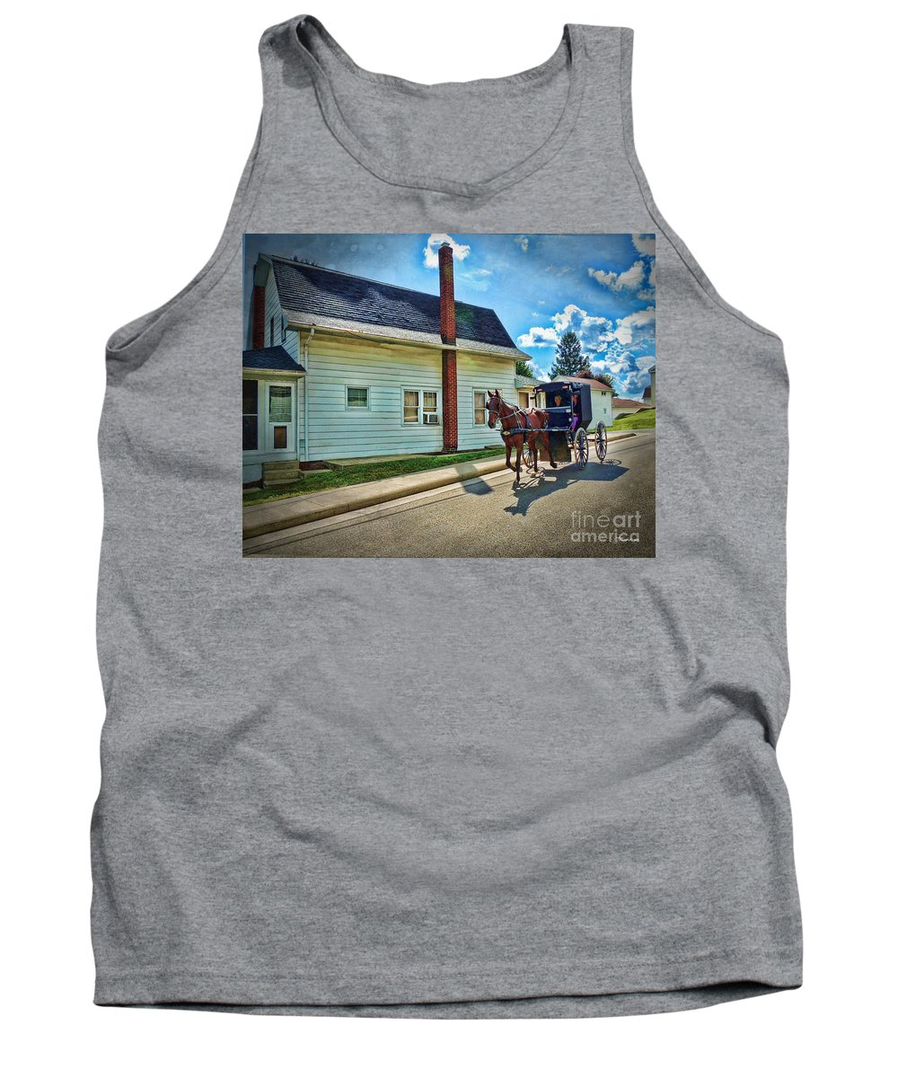 Amish Country Tank Top featuring the photograph Amish Country Ride by Joan Minchak