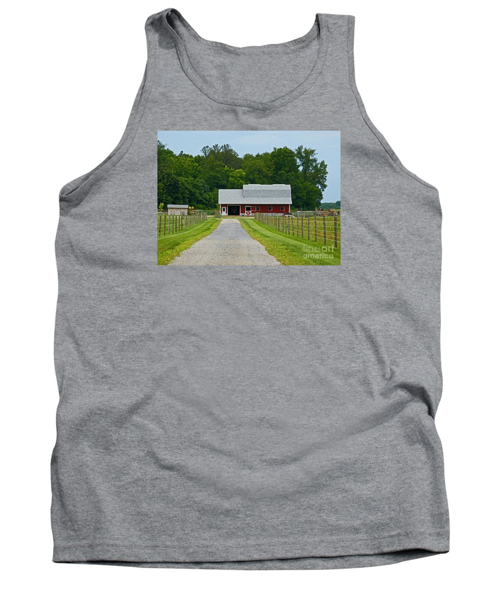 Amish Tank Top featuring the photograph Amish Farm by Ann Horn