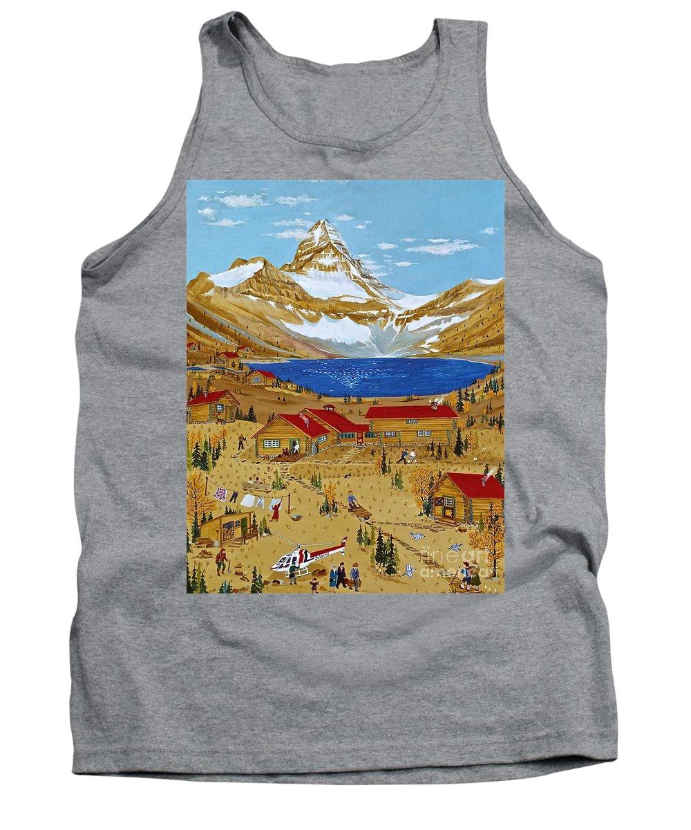 Mt Assiniboine Lodge Tank Top featuring the painting An Alpine Autumn by Virginia Ann Hemingson