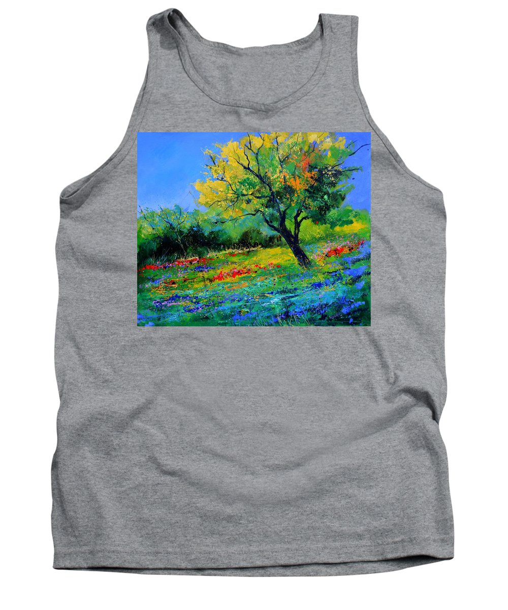 Landscape Tank Top featuring the painting An oak amid flowers in Texas by Pol Ledent