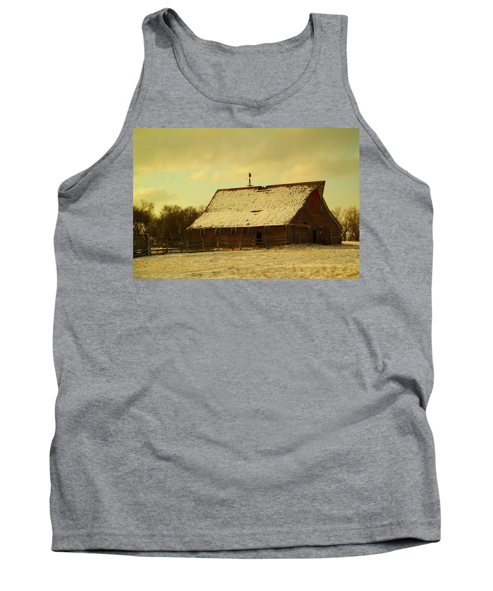 Barns Tank Top featuring the photograph An Old Barn Just After An Early Spring Snow In Keene North Dakota by Jeff Swan