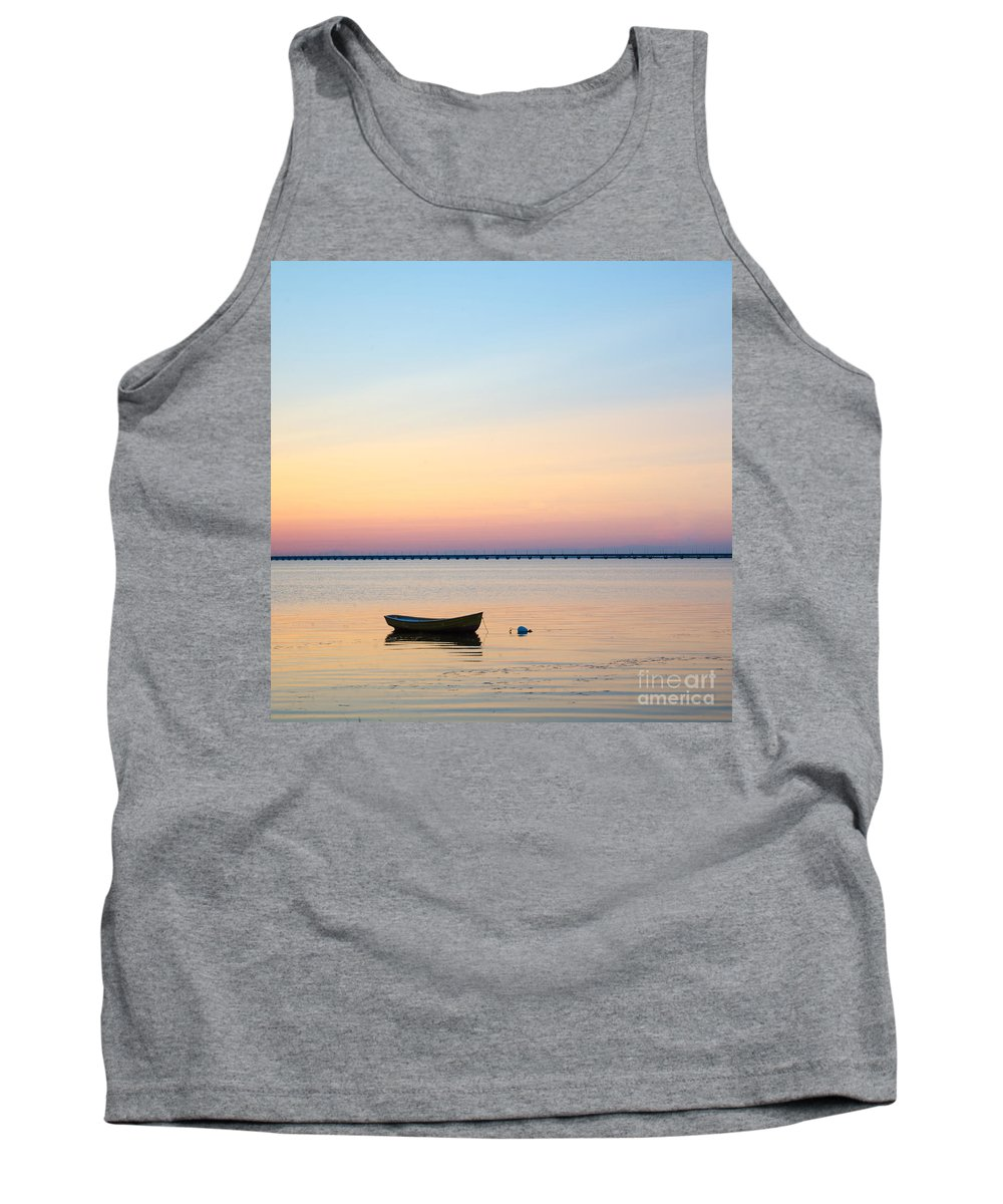 Amazing Tank Top featuring the photograph Anchored At Sunset by Kennerth and Birgitta Kullman