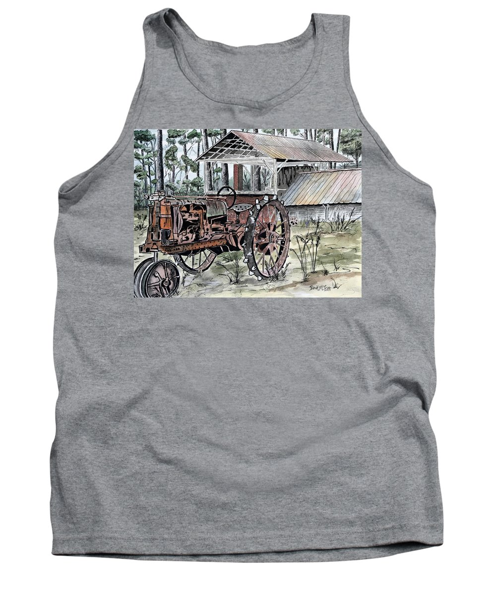 Tractor Tank Top featuring the painting Antique Farm Tractor  by Derek Mccrea