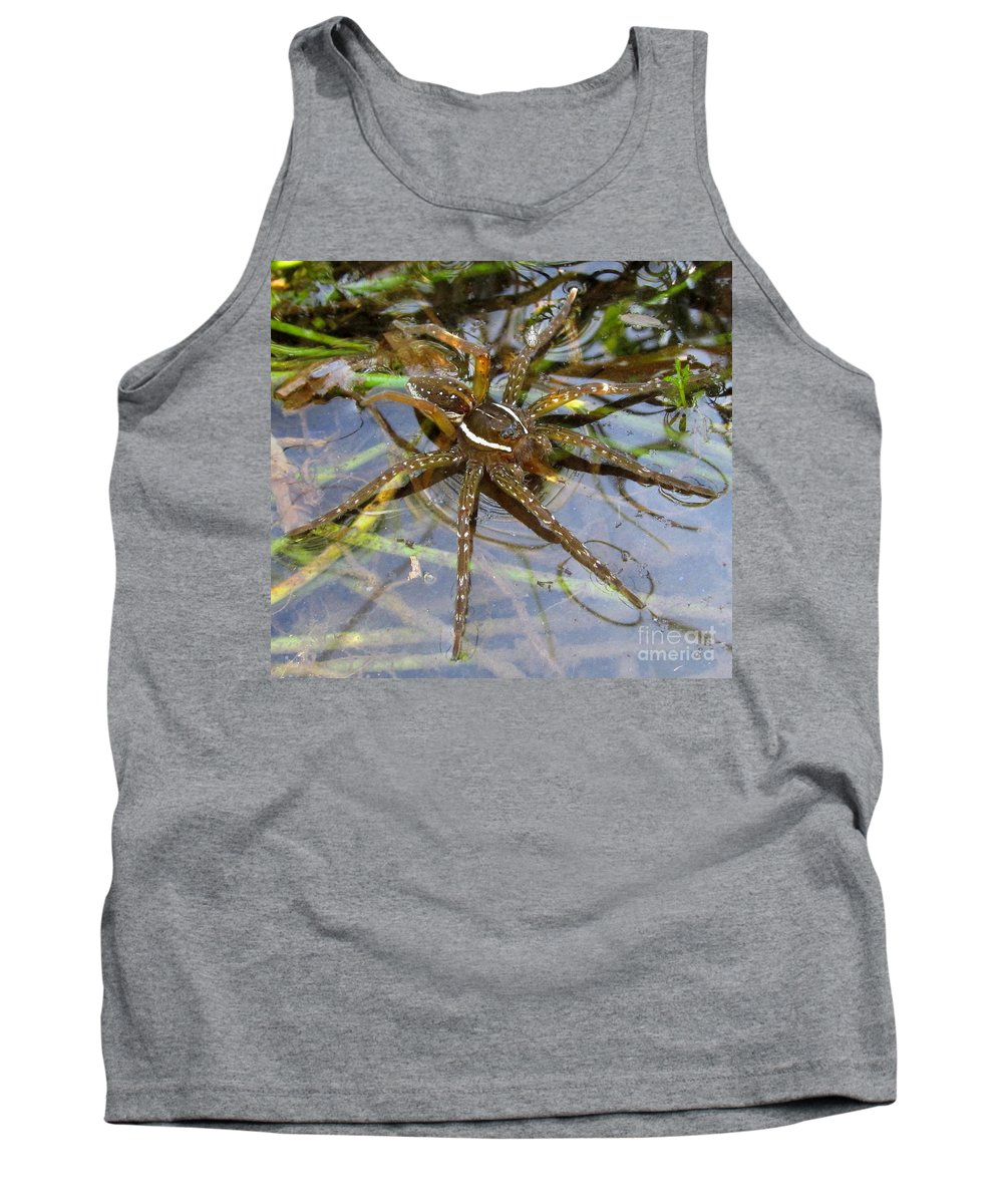 Aquatic Hunting Spiders Water Spiders Aqua Spiders Pond Spiders Wetland Spiders Of Pennsylvania Arachnids Striped Spiders North American Spiders Aquatic Spiders Predatory Insects Entomology Appalachian Arachnids Tank Top featuring the photograph Aquatic Hunting Spider by Joshua Bales