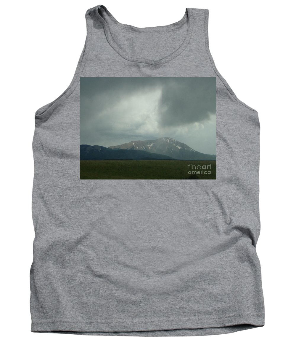 Storm Cloud Photographs Canvas Prints Arrowhead Cloud Formations Rocky Mountains Colorado Sky Surreal Skyscapes Strange Skies Gray Clouds Arrow Cloud Prints Stormscape Posters Bizarre Sky Ominous Overcast Bad Weather Dark Cloud Tank Top featuring the photograph Arrowhead Cloud by Joshua Bales