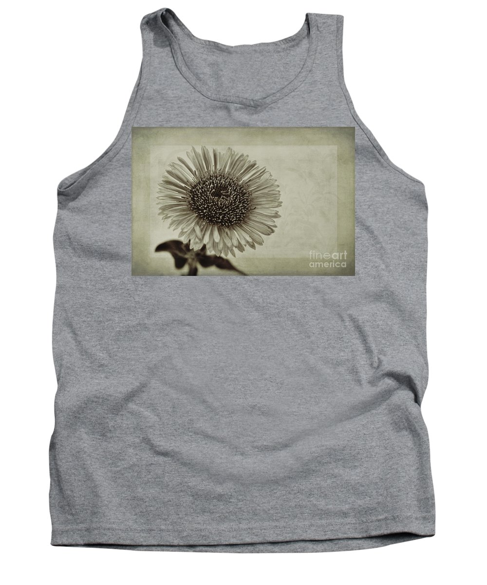 Toned Aster Tank Top featuring the photograph Aster With Textures by John Edwards