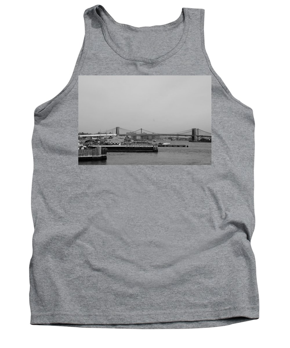 Brooklyn Bridge Tank Top featuring the photograph AT THE SAME MOMENT in BLACK AND WHITE by Rob Hans
