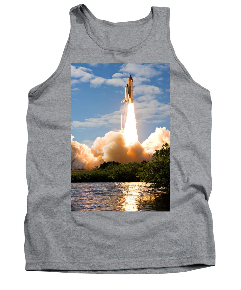 Space Tank Top featuring the photograph Atlantis Lift Off by Ricky Barnard