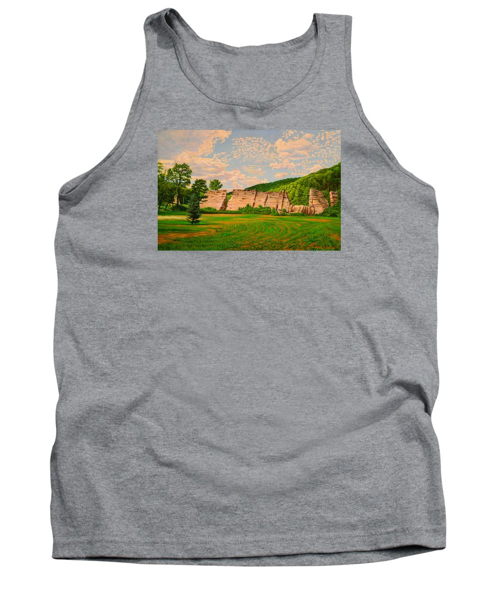 Landscape Tank Top featuring the painting Austin Dam by Kenneth Cobb