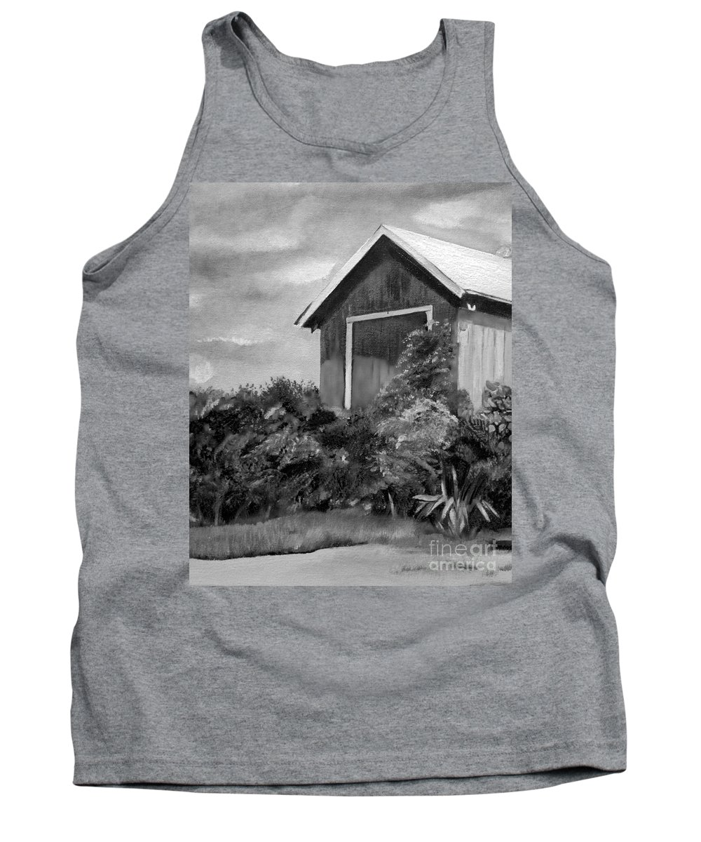 Autumn Barn Tank Top featuring the painting Autumn Barn - Upclose Cropped - Black And White by Jan Dappen