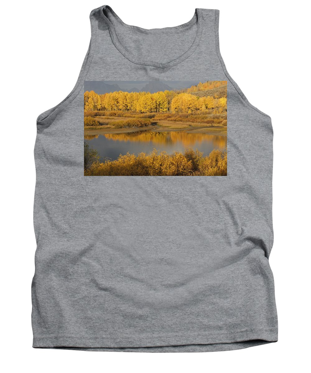 Populus Tremuloides Tank Top featuring the photograph Autumn Foliage Surrounds A Pool In The by David Ponton