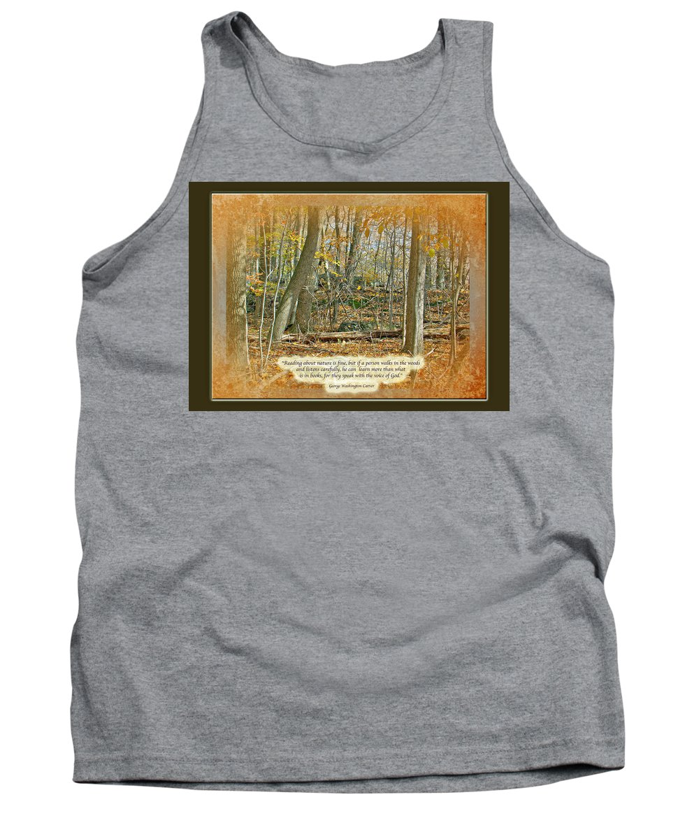 Autumn Tank Top featuring the photograph Autumn Forest - George Washington Carver Quote by Mother Nature
