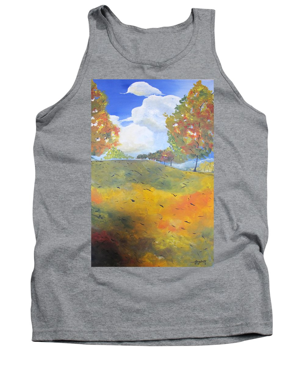 Acrylic Tank Top featuring the painting Autumn Leaves Panel 2 Of 2 by Gary Smith