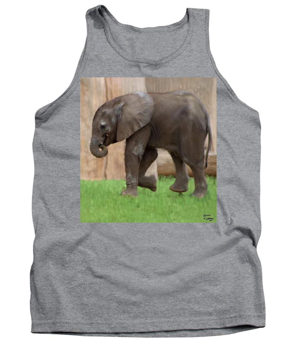 Elephant Tank Top featuring the painting Baby Elephant by Bruce Nutting