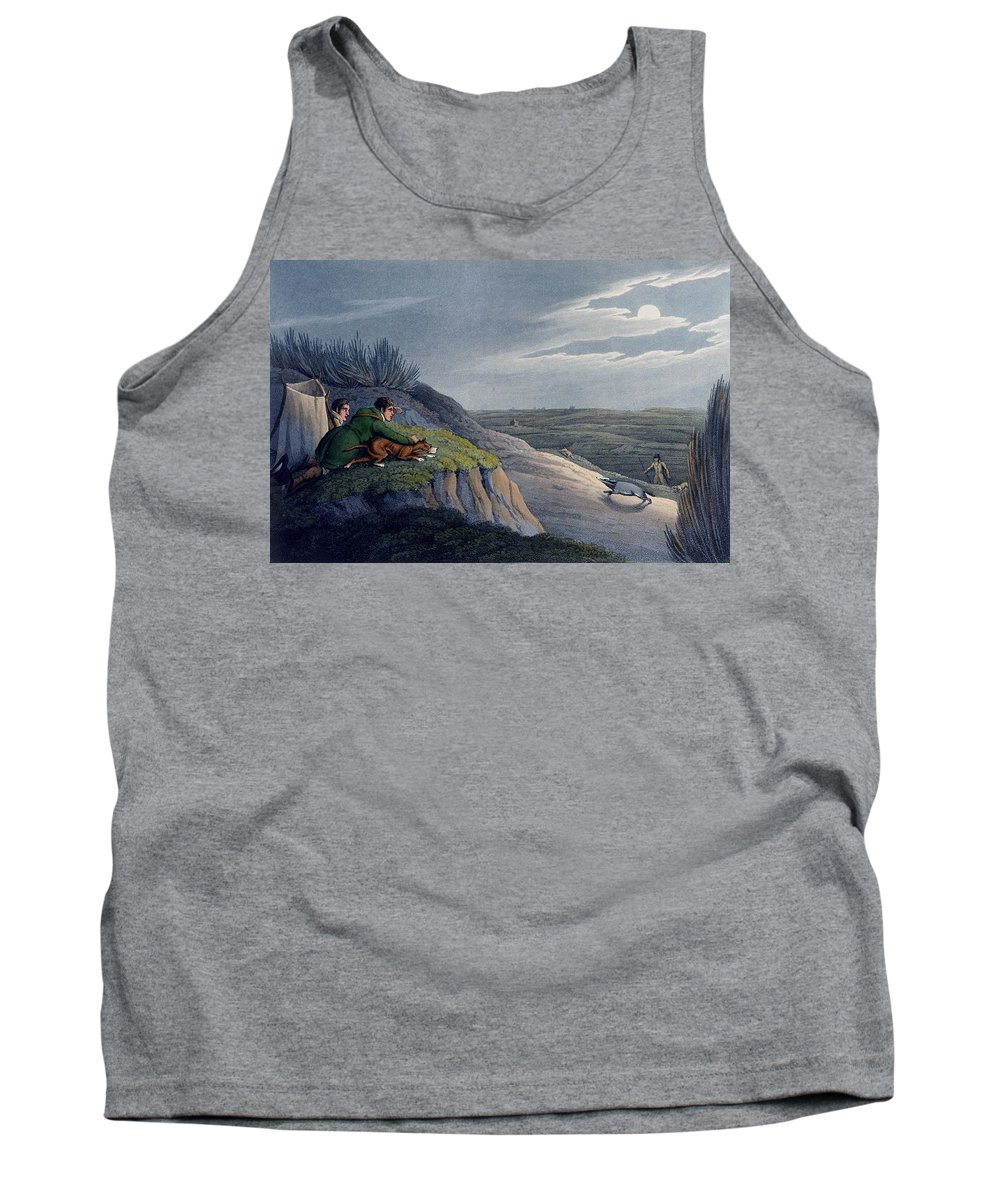 Hunt Tank Top featuring the drawing Badger Catching, 1820 by Henry Thomas Alken