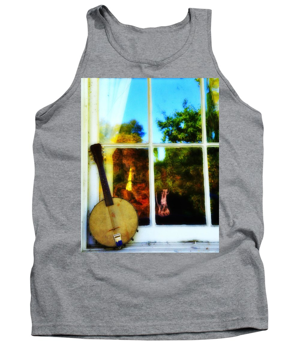 Banjo Tank Top featuring the photograph Banjo Mandolin In The Window by Bill Cannon