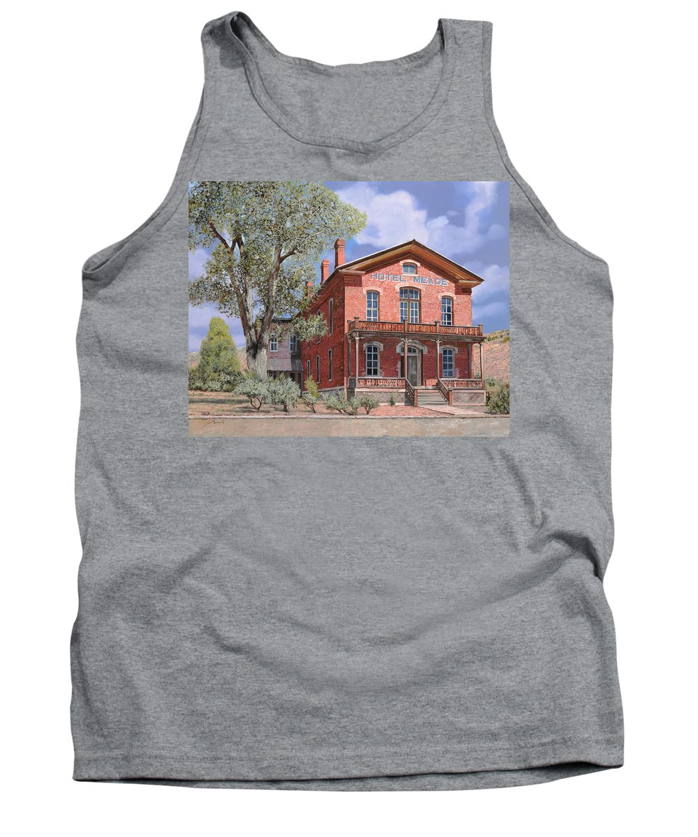Montana Tank Top featuring the painting Bannock-montana-hotel Meade by Guido Borelli
