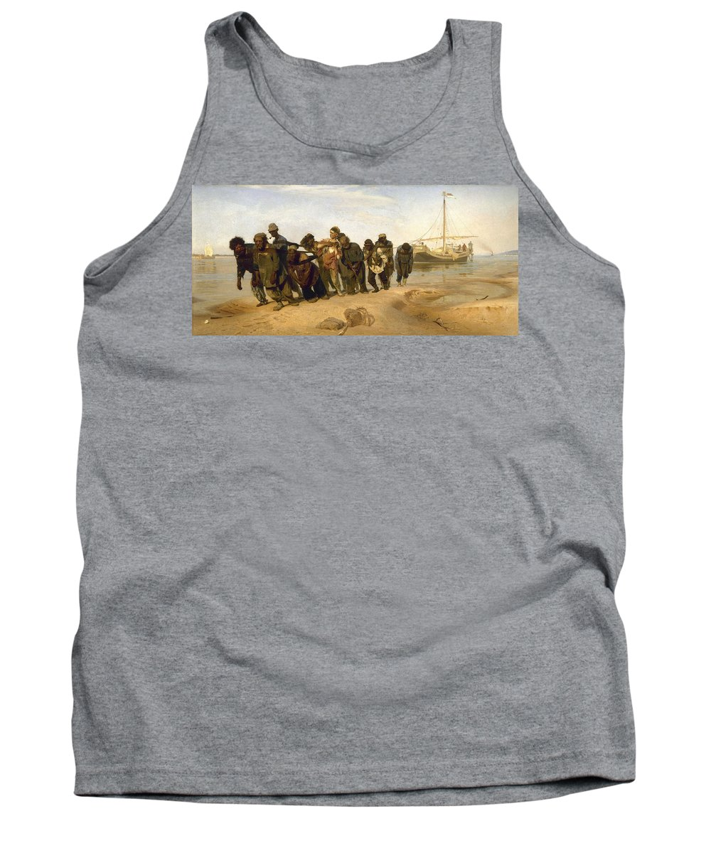 Barge Haulers On The Volga Tank Top featuring the digital art Barge Haulers On The Volga by Burlaki