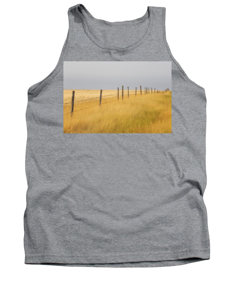 Light Tank Top featuring the photograph Barley Field And Fenceline, Southern by Peter Carroll