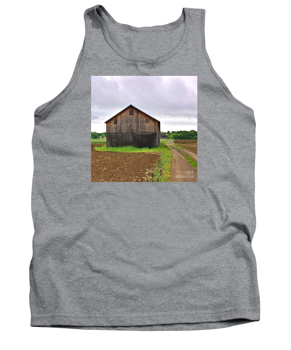 New England Tank Top featuring the photograph Barn By The Road Square by Marcel J Goetz Sr