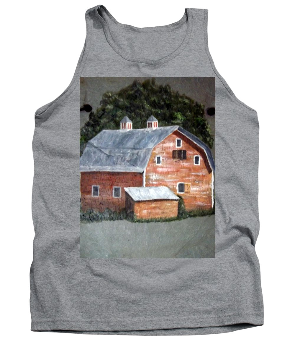 Barn Tank Top featuring the painting Barn On Va Creeper Trail by Gino Didio