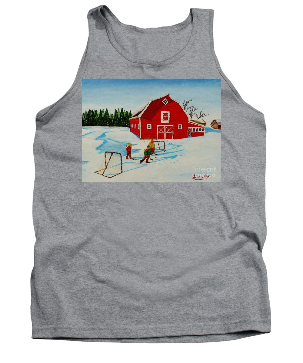 Hockey Tank Top featuring the painting Barn Yard Hockey by Anthony Dunphy