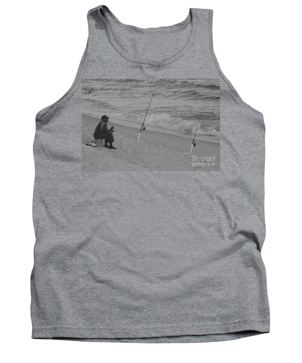 Beach Fishing Tank Top featuring the photograph Beach Fishing by Michelle Powell