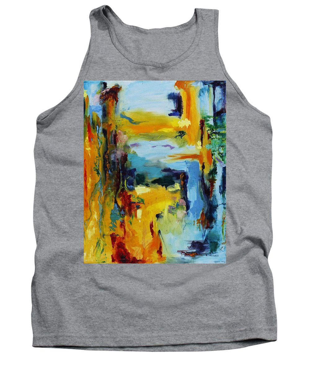 Abstract Tank Top featuring the painting Beach Houses by Regina Valluzzi