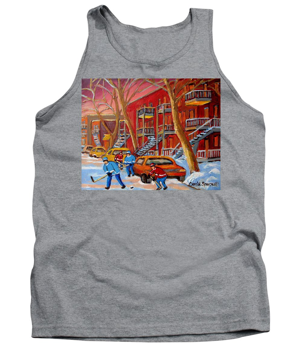 Tank Top featuring the painting Beautiful Day For Hockey by Carole Spandau