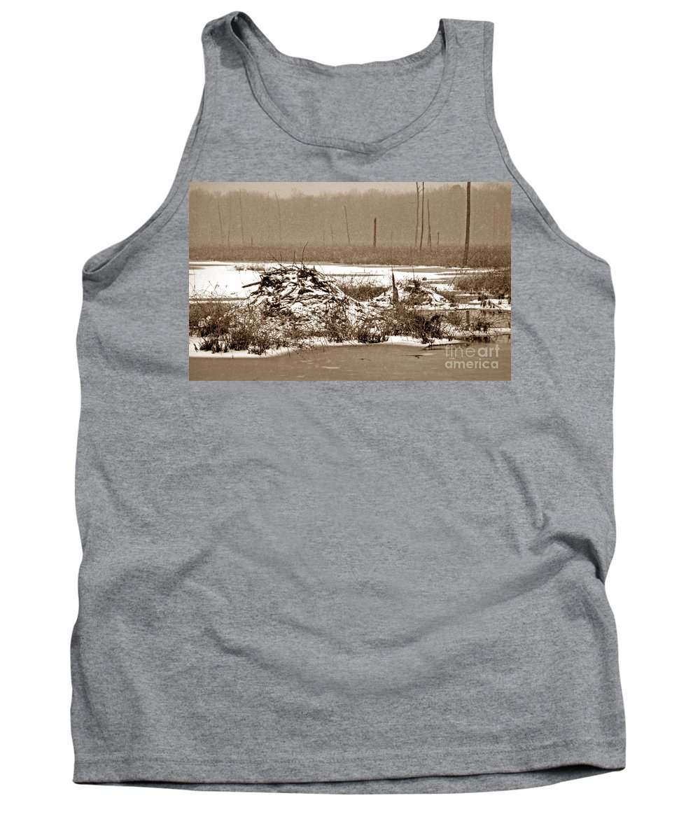 Scenic Tours Tank Top featuring the photograph Beaver House by Skip Willits
