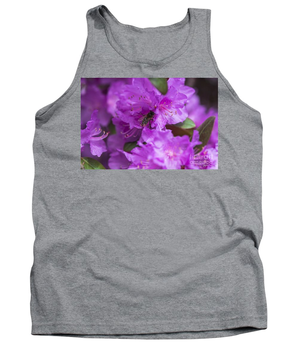 Bee On Rhododendrons Tank Top featuring the photograph Bee On Rhododendrons by Yefim Bam