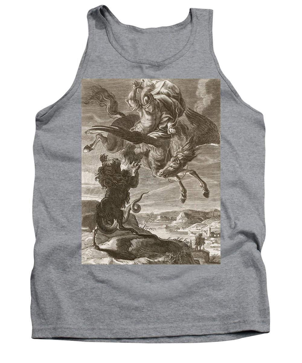 Lion Tank Top featuring the drawing Bellerophon Fights The Chimaera, 1731 by Bernard Picart