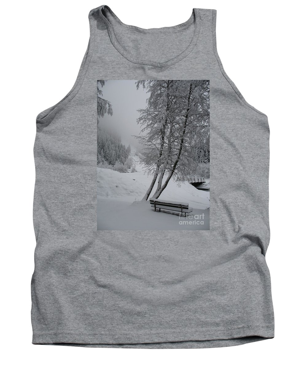 Bench Tank Top featuring the photograph Bench In The Snow by Christiane Schulze Art And Photography