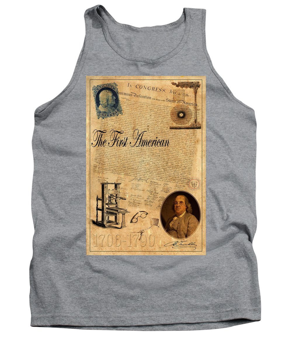 Ben Franklin Tank Top featuring the photograph Benjamin Franklin by Andrew Fare