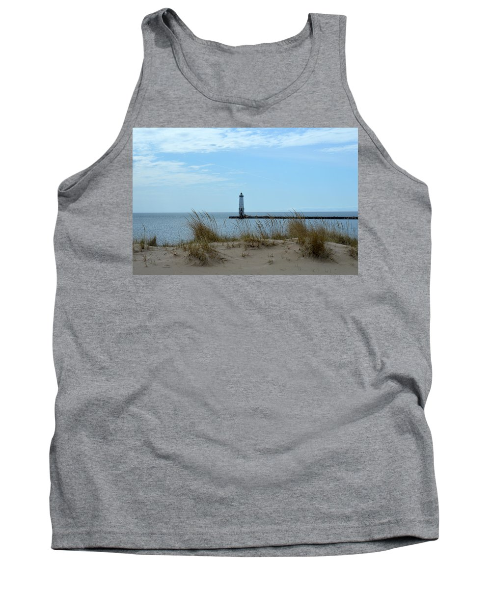 Frankfort Lighthouse Tank Top featuring the photograph Beyond The Sand by Linda Kerkau