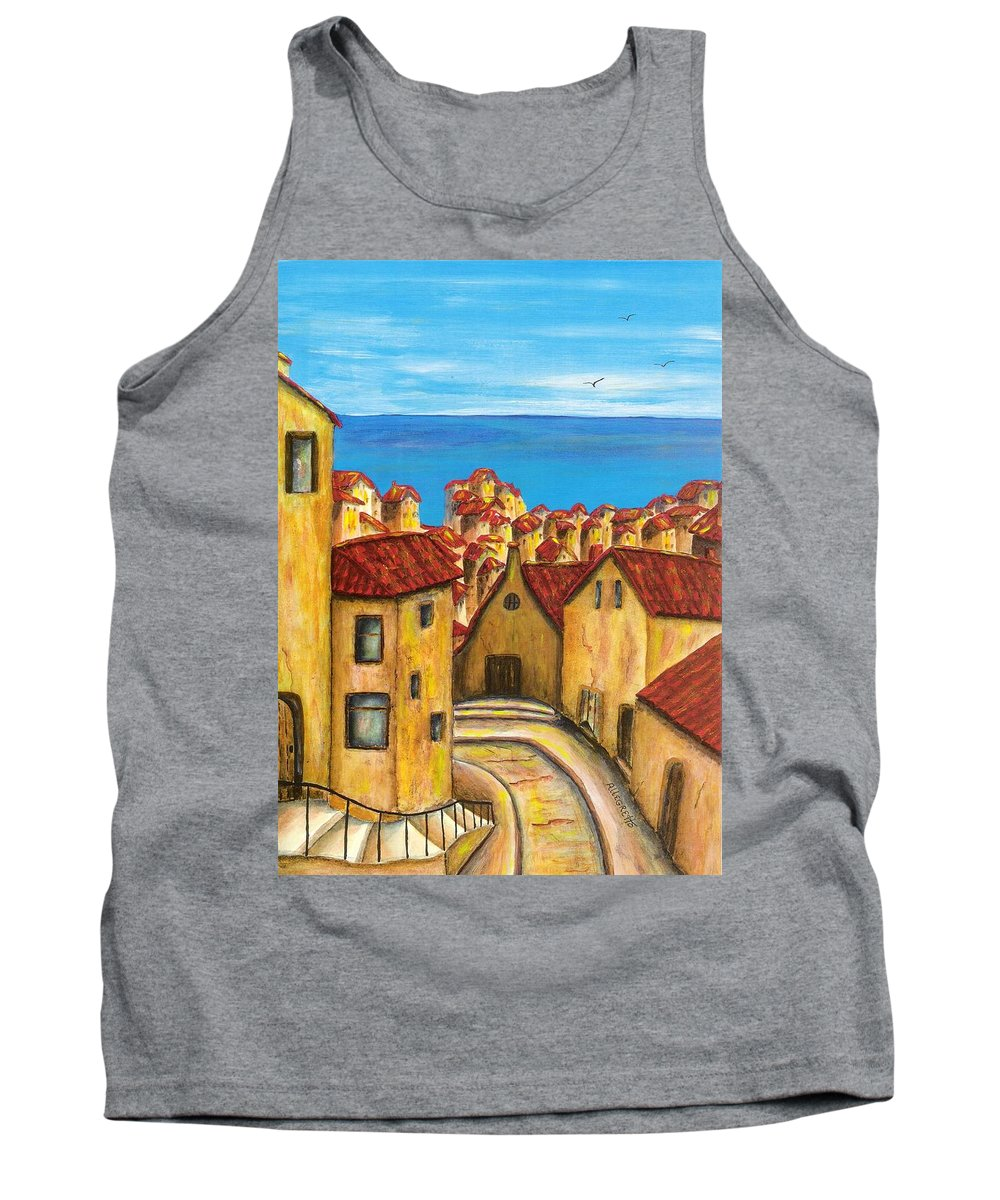 Pamela Allegretto Tank Top featuring the painting Biagi In Tuscany by Pamela Allegretto