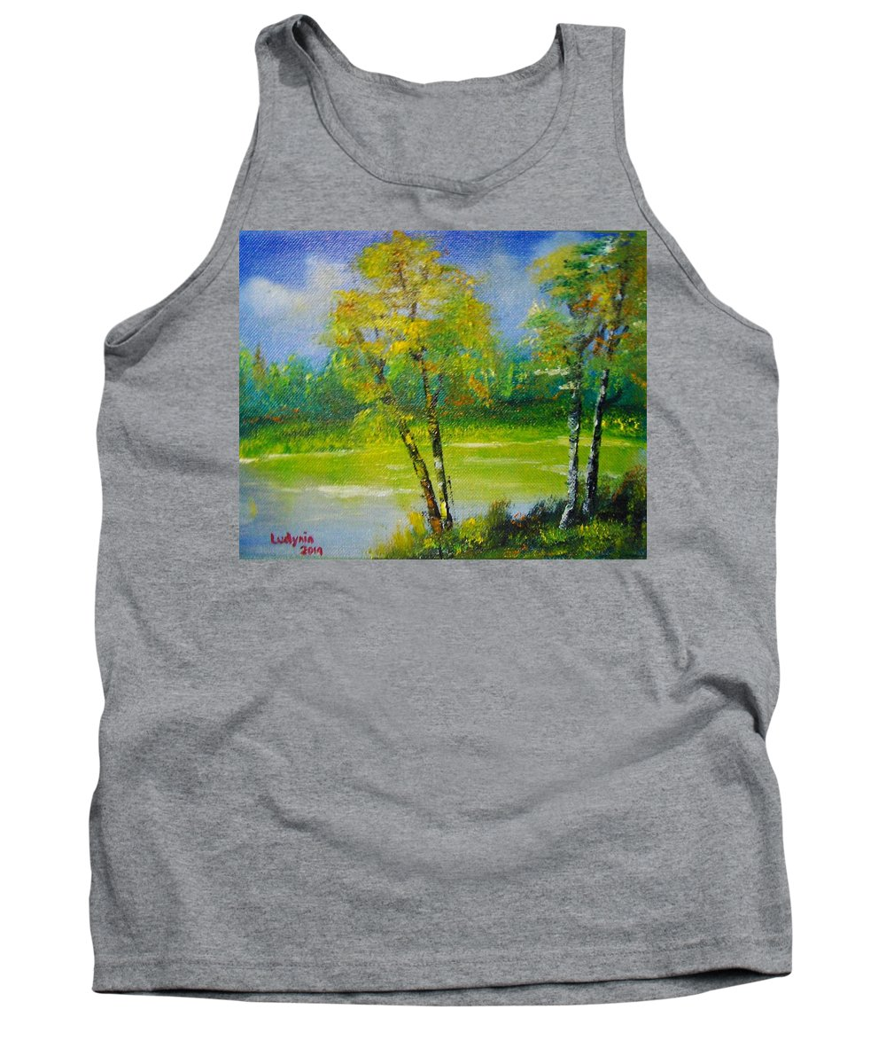 Art Tank Top featuring the painting Birches by Ryszard Ludynia