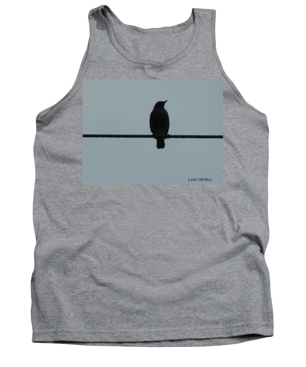 Bird Tank Top featuring the photograph Bird On A Wire 2 by George Pedro