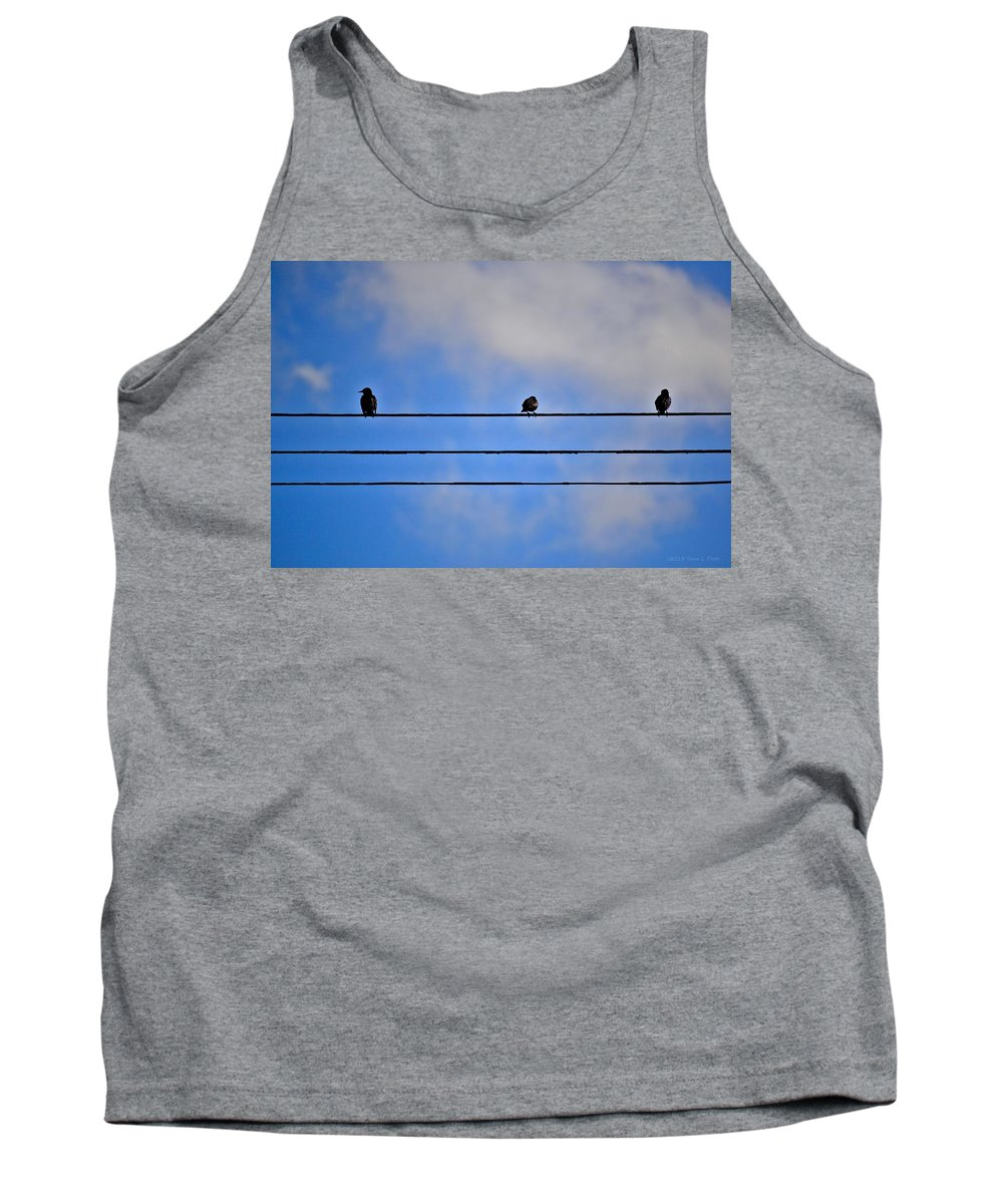 Birds Tank Top featuring the photograph Birds On A Wire by Tara Potts