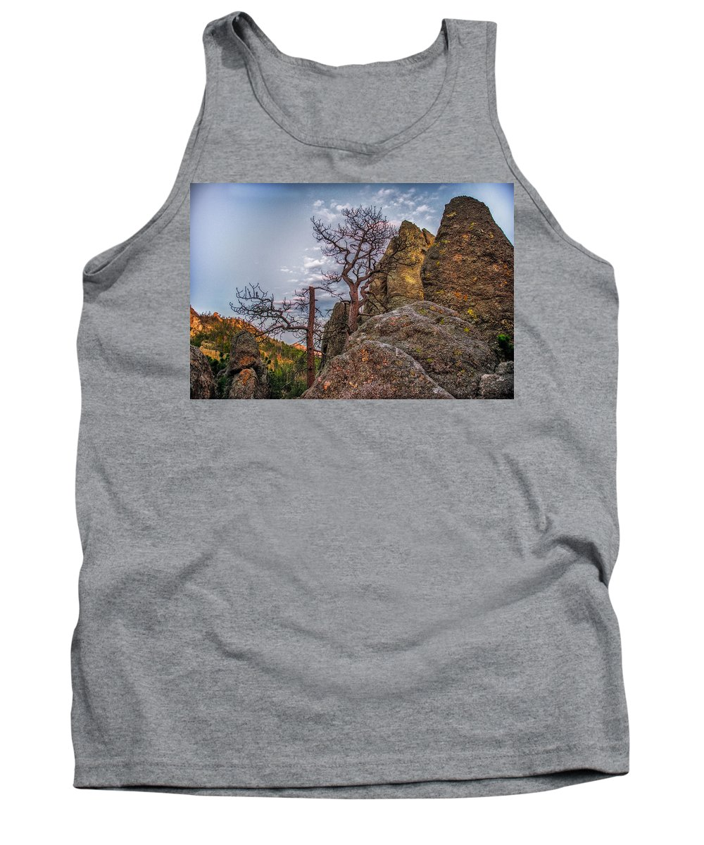 Mountain Tank Top featuring the photograph Black Hills Boulders by Paul Freidlund