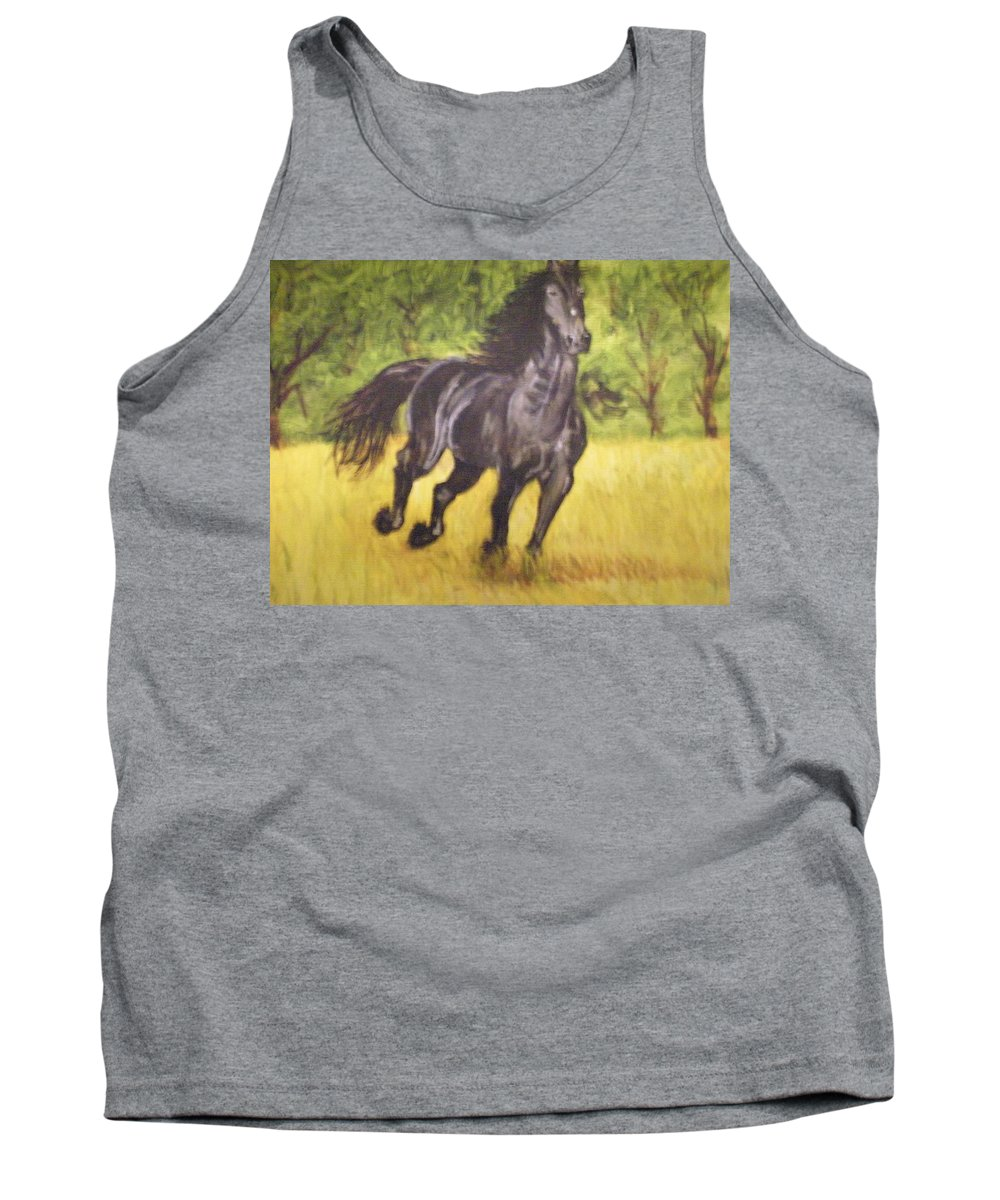 Horse Tank Top featuring the painting Black Horse by Terry Lewey
