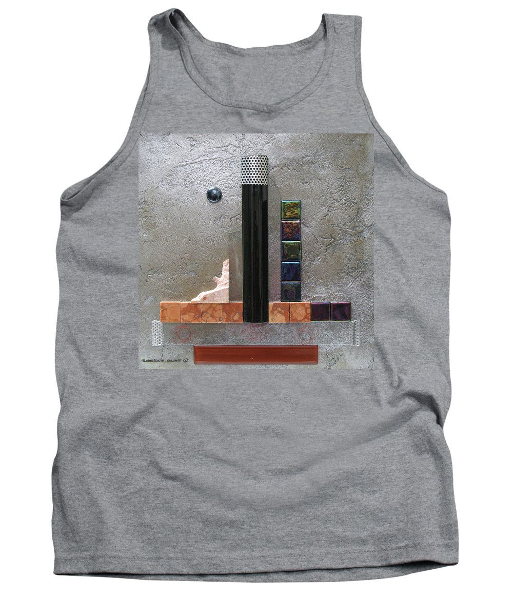 Assemblage Tank Top featuring the relief Black Tower by Elaine Booth-Kallweit