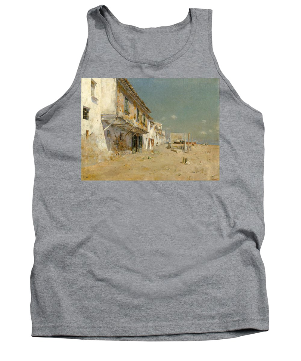Joan Roig I Soler Tank Top featuring the painting Blanes Beach by Joan Roig i Soler
