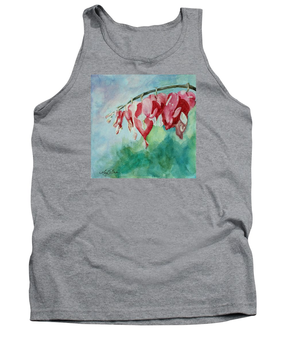 Watercolor Tank Top featuring the painting Bleeding Hearts by Mary Benke