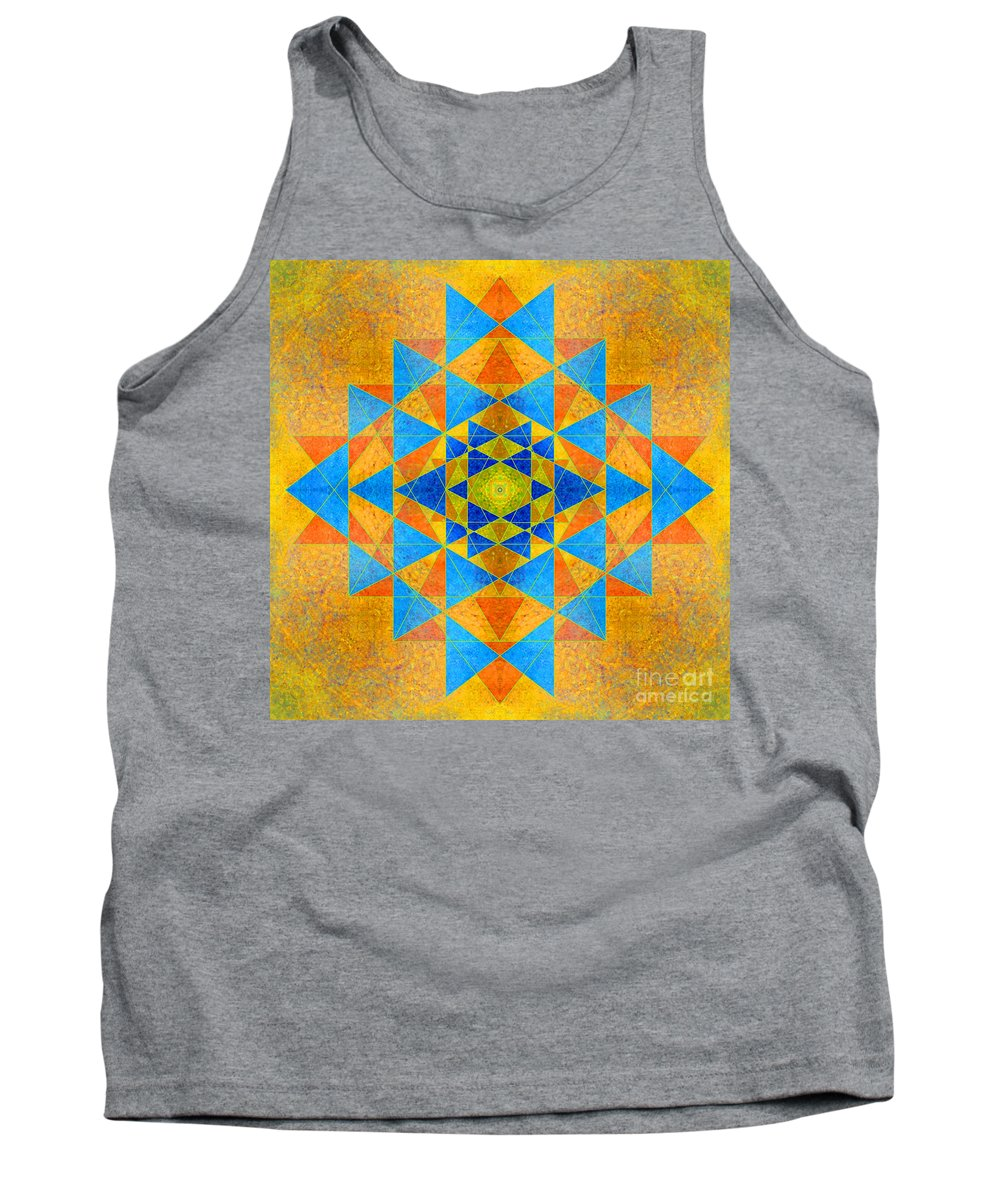 Rainbow Tank Top featuring the photograph Blue And Gold Yantra Meditation Mandala by Susan Bloom