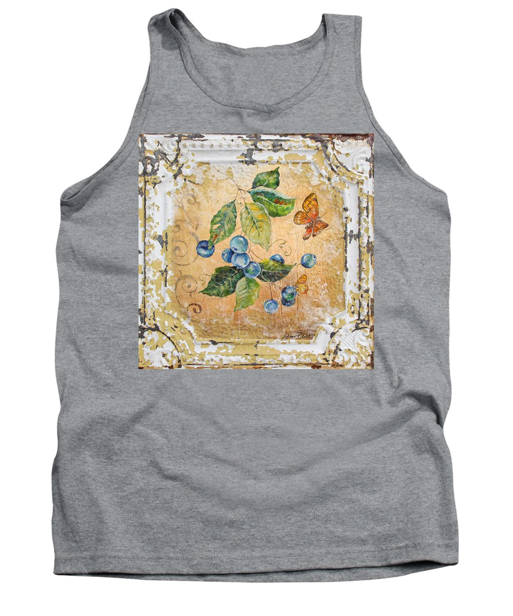 Acrylic Painting Tank Top featuring the painting Blue Berries And Butterfly On Vintage Tin by Jean Plout