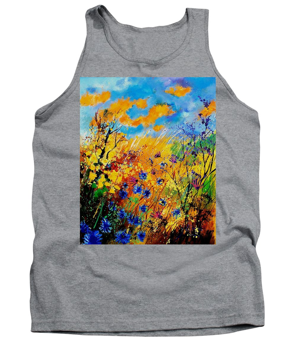 Poppies Tank Top featuring the painting Blue Cornflowers 450408 by Pol Ledent