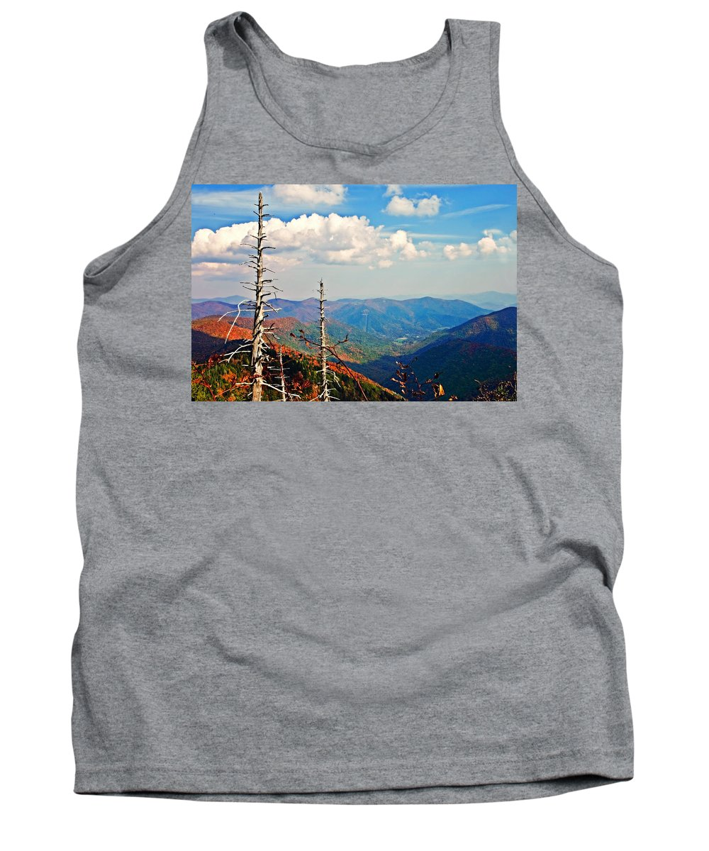 Trees Tank Top featuring the photograph Blue Ridge Parkway Art-trees And Mountains by Susan Leggett