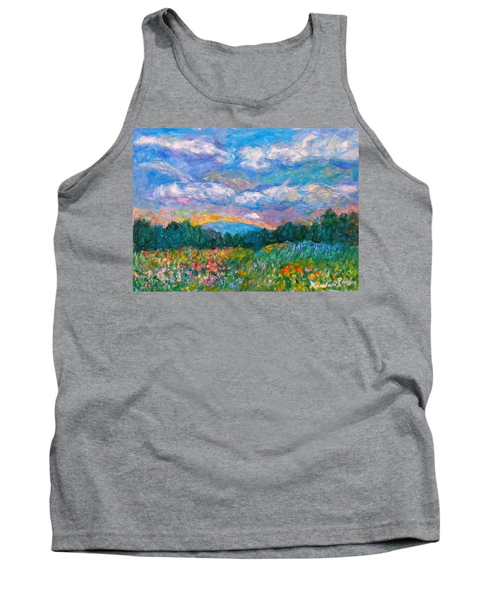 Landscape Tank Top featuring the painting Blue Ridge Wildflowers by Kendall Kessler