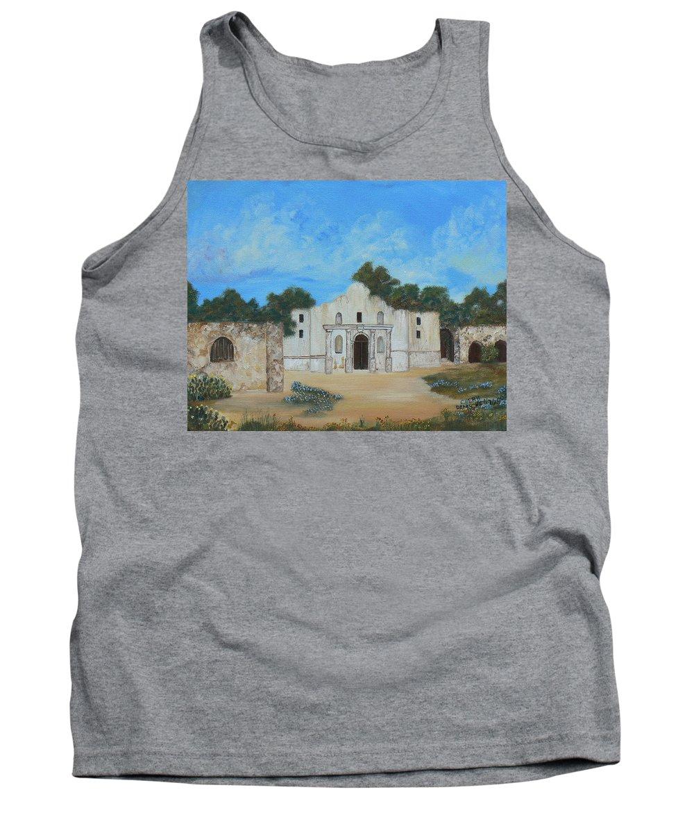 The Alamo. Bluebonnets. Landscape Tank Top featuring the painting Bluebonnets At The Alamo by Cheryl Damschen